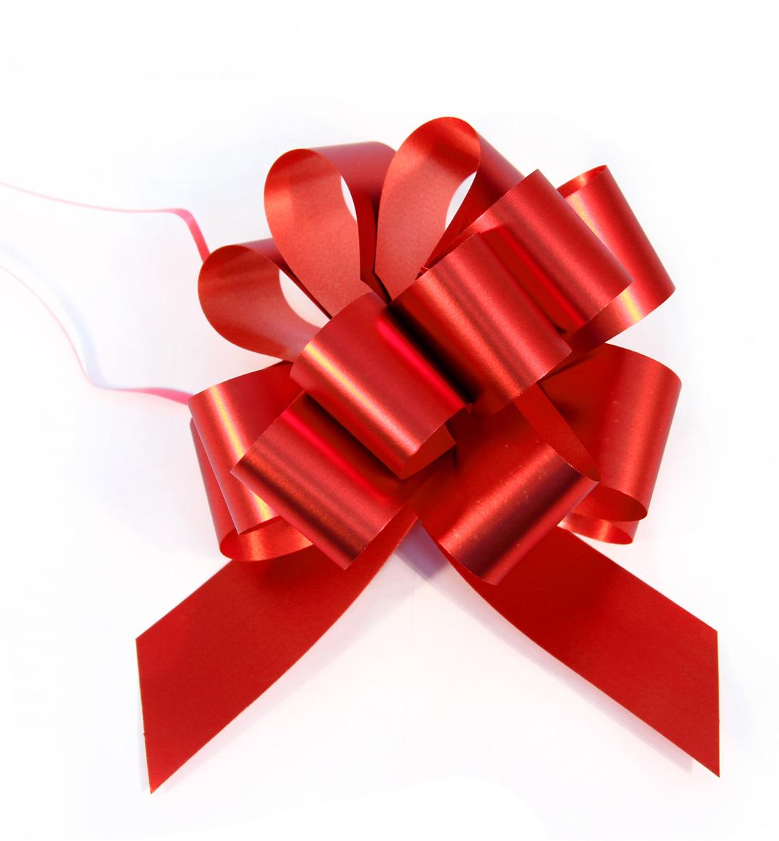 Бант упаковочный Veld-Co Шар, цвет: красный, 3 х 100 см, 10 шт. 44910 набор декоративных лент veld co 1 9 см х 3 м 30 шт