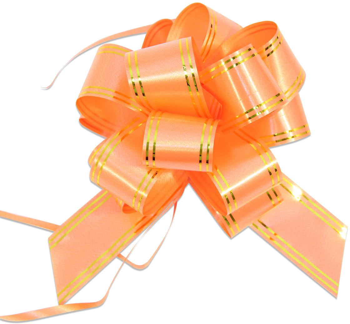 Бант упаковочный Veld-Co Шар, цвет: оранжевый, 3 х 100 см, 10 шт набор упаковочных бантиков veld co бабочка цвет синий серебристый 3 х 50 см 10 шт