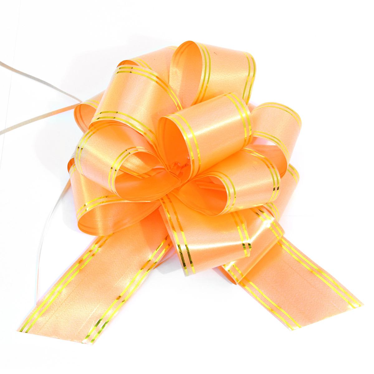 Бант упаковочный Veld-Co Шар, цвет: оранжевый, 5 х 148 см, 10 шт набор упаковочных бантиков veld co 1 4 х 25 см 10 шт