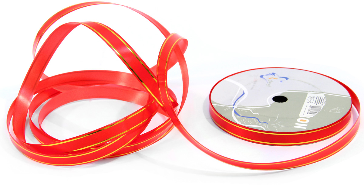 Лента декоративная Veld-Co, цвет: красный, 1,2 см х 45 м набор декоративных лент veld co 1 9 см х 3 м 30 шт