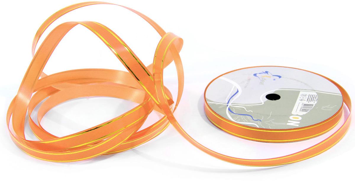 Лента декоративная Veld-Co, цвет: оранжевый, 1,2 см х 45 м44934Лента полипропеленовая на бабине. Размер мм х 45 м с золотыми полосками. оранжевая