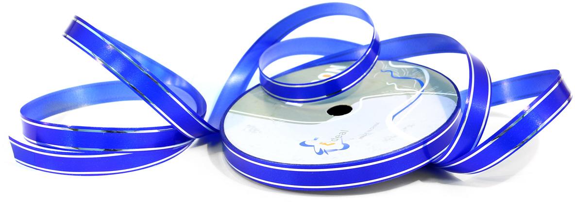 Лента декоративная Veld-Co, цвет: синий, 1,2 см х 45 м44935Лента полипропеленовая на бабине. Размер мм х 45 м с серебрянными полосками, синяя