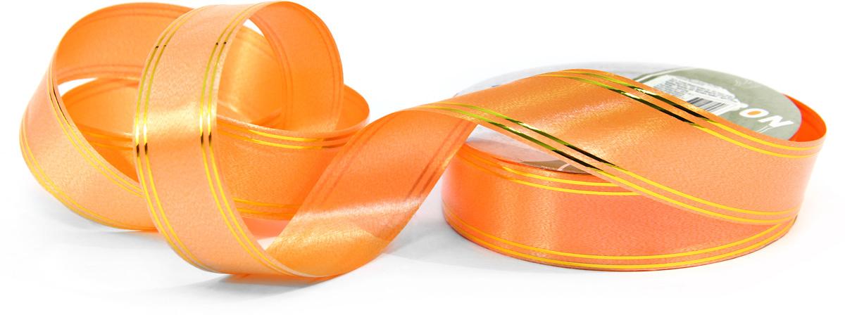 Лента с золотыми полосками, 3см х 45м - оранжевая
