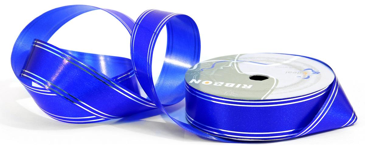 Лента декоративная Veld-Co, с полосой, цвет: синий, серебристый, 3 см х 45 м коробка подарочная veld co свадебный бабочки цвет слоновая кость 18 х 18 х 26 см