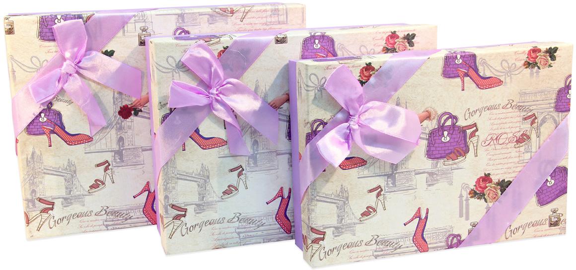 Набор подарочных коробок Veld-Co Сиреневый, 3 шт набор подарочных коробок veld co шоколад с магнитами цвет светло коричневый 3 шт