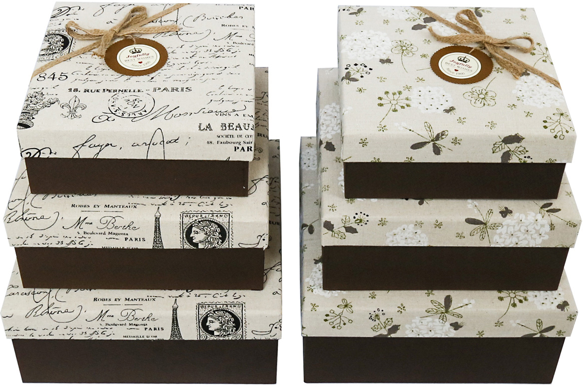 Набор подарочных коробок Veld-Co Vintage, с декором, 3 шт набор подарочных коробок veld co шоколад с магнитами цвет светло коричневый 3 шт