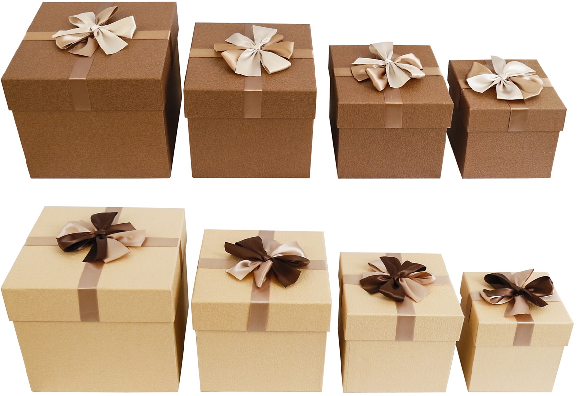 Набор подарочных коробок Veld-Co Крем-брюле, с декором, 4 шт набор подарочных коробок veld co шоколад с магнитами цвет светло коричневый 3 шт