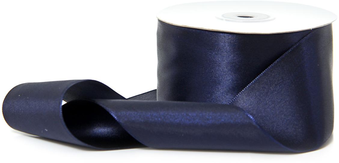 Лента декоративная Veld-Co, атласная, цвет: темно-синий, 5 см х 30 м лента декоративная veld co с полосой цвет синий серебристый 3 см х 45 м