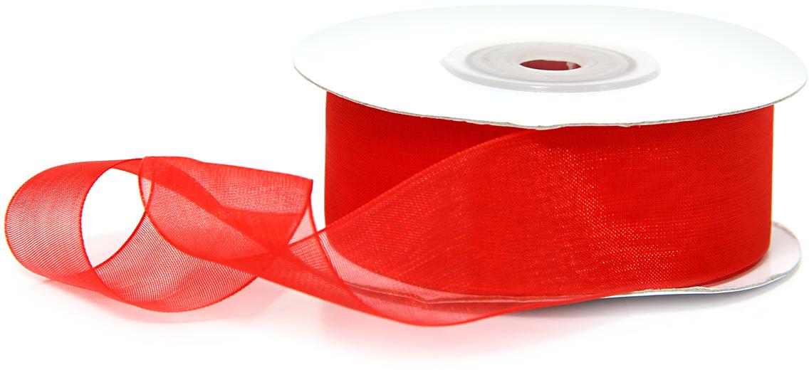 Лента декоративная Veld-Co, шифоновая, цвет: красный, 2,5 см х 22 м набор декоративных лент veld co парча металл 1 6 см х 3 м 30 шт
