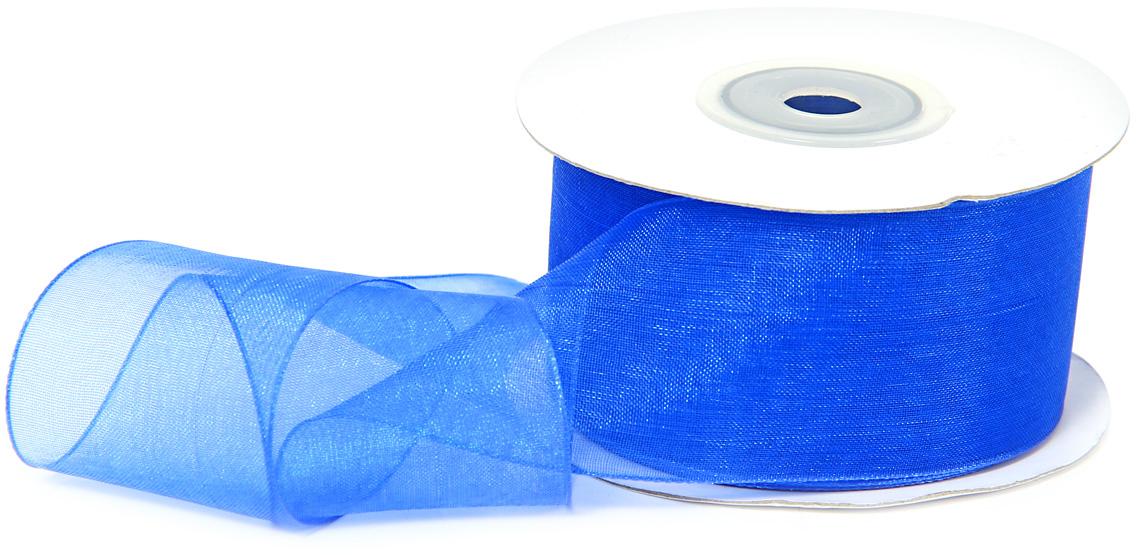 Лента декоративная Veld-Co, шифоновая, цвет: синий, 3,8 см х 22 м набор декоративных лент veld co парча 0 7 см х 10 м 24 шт