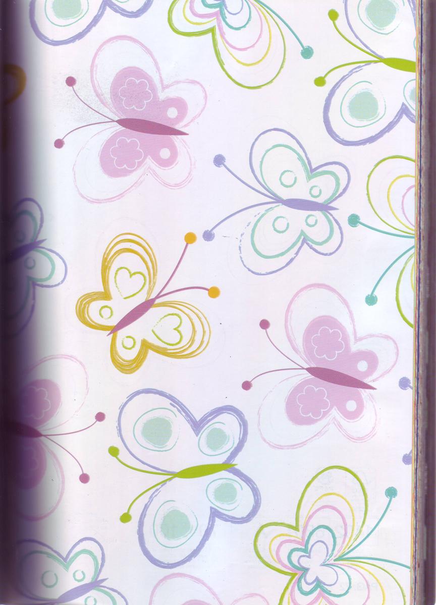 Бумага упаковочная Veld-Co  Felicita. Разноцветные бабочки , 70 см х 10 м -  Подарочная упаковка