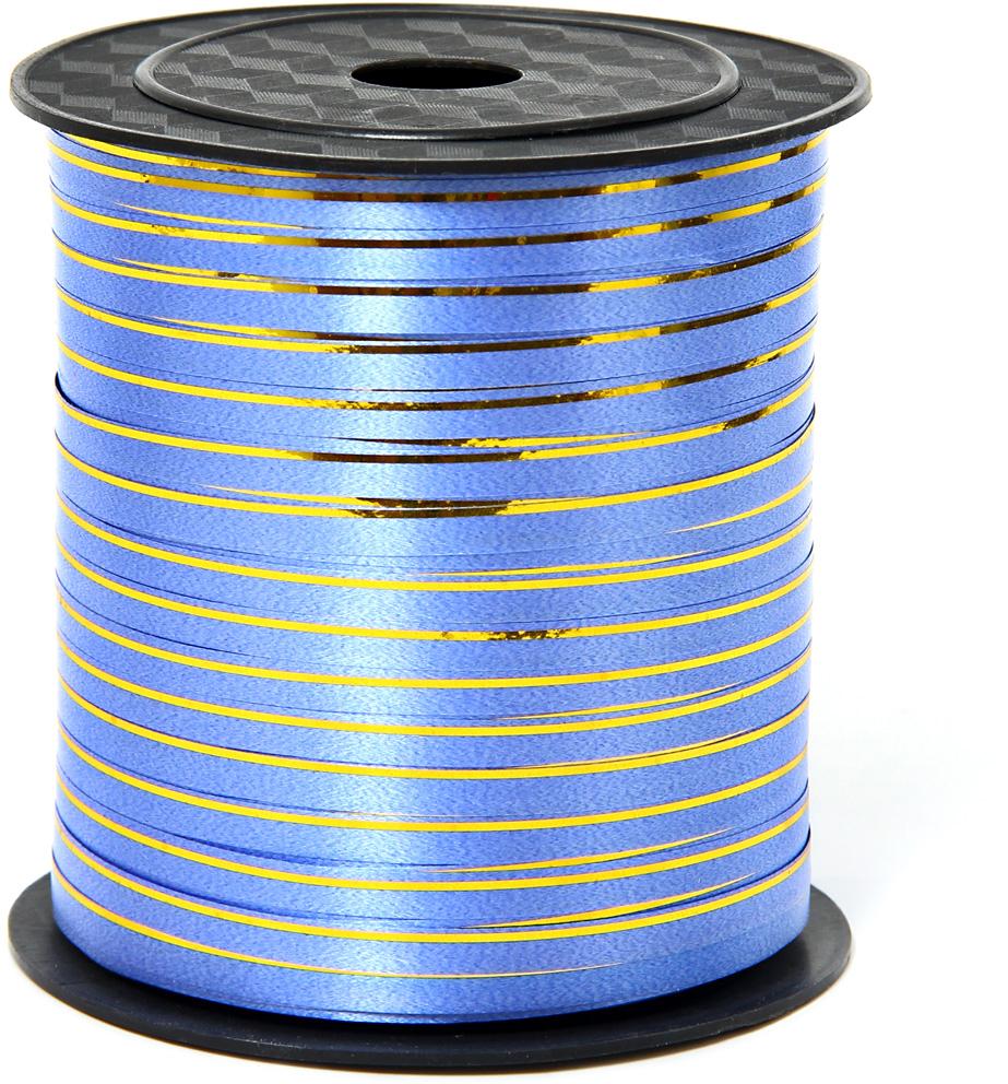 Лента декоративная Veld-Co, цвет: синий, 0,5 см х 225 м лента декоративная veld co с полосой цвет синий серебристый 3 см х 45 м