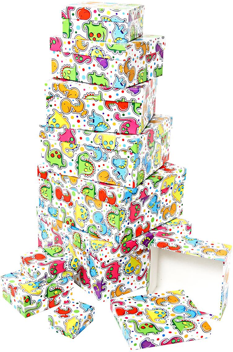Набор подарочных коробок Veld-Co Динозаврики, 10 шт51222Подарочные коробки Veld-Co - это наилучшее решение, если выхотите порадовать ваших близких и создать праздничное настроение, ведь подарок, преподнесенный в оригинальной упаковке, всегда будет самым эффектным и запоминающимся. Окружите близких людей вниманием и заботой, вручив презент в нарядном, праздничном оформлении.