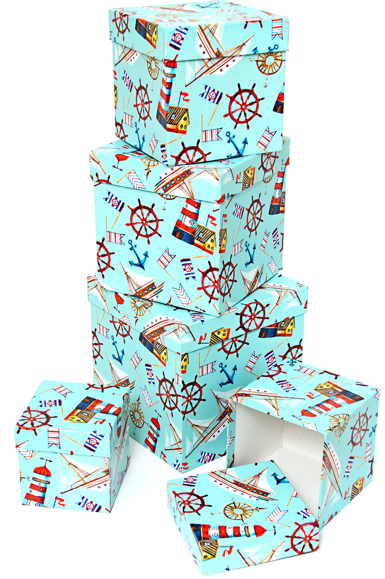 Набор подарочных коробок Veld-Co Морская гавань, кубы, 5 шт набор подарочных коробок veld co морская тематика прямоугольные 5 шт