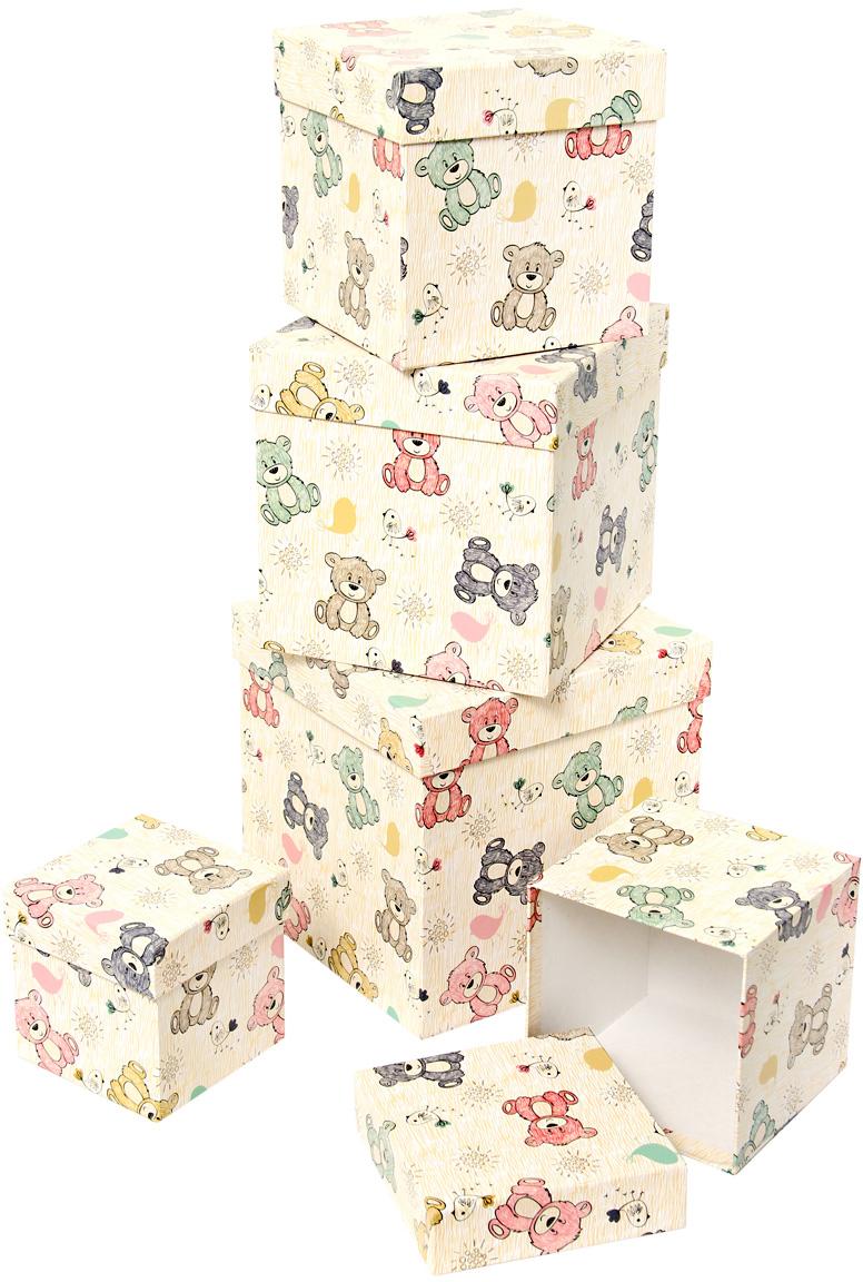 Набор подарочных коробок Veld-Co Мишки-малышки, кубы, 5 шт набор подарочных коробок veld co мишки малышки 4 шт