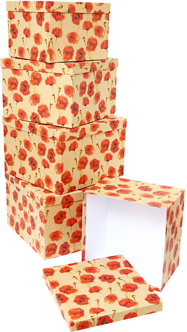 Набор подарочных коробок Veld-Co Маки, кубы, 5 шт набор подарочных коробок veld co морская тематика прямоугольные 5 шт