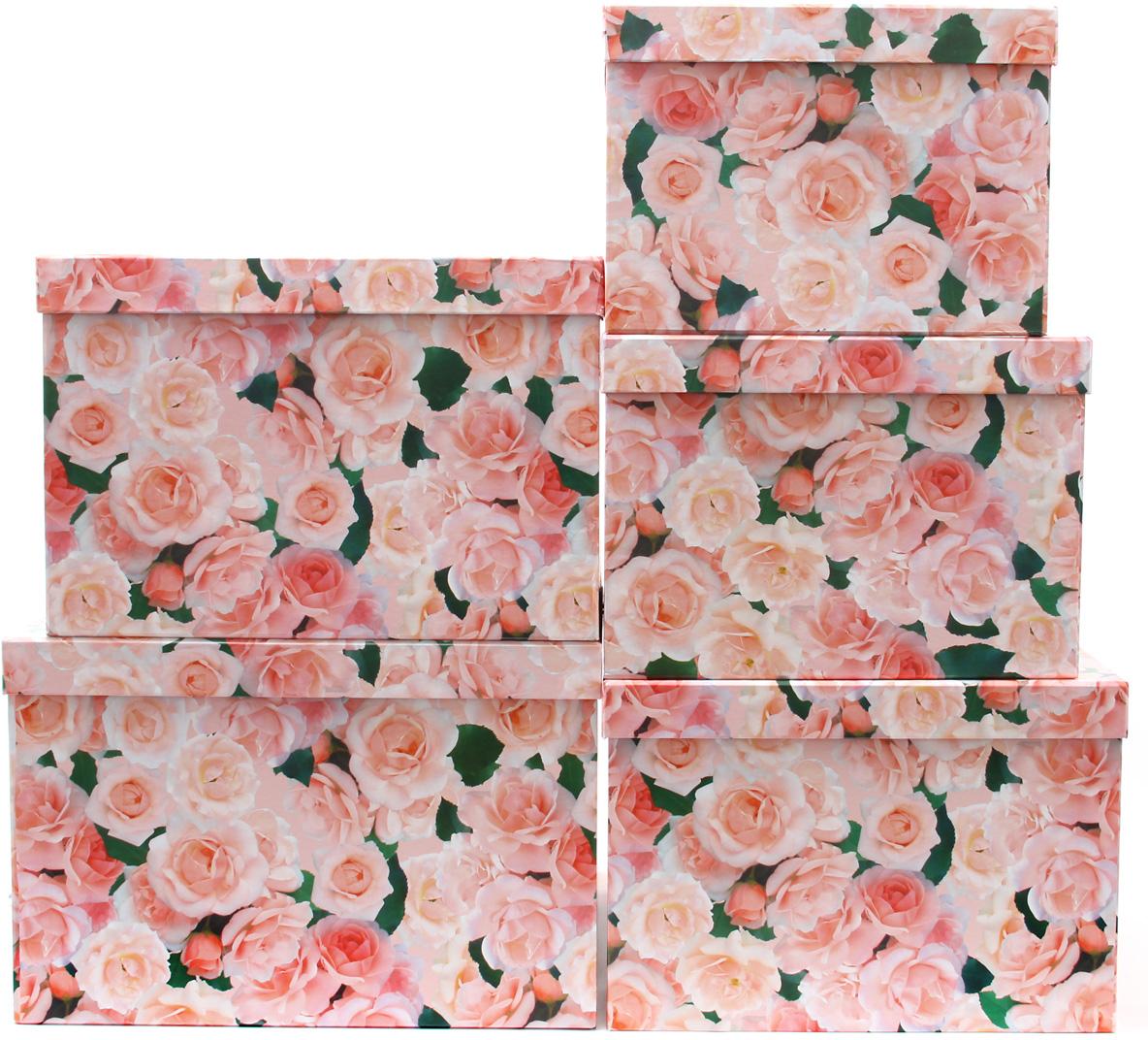 Набор подарочных коробок Veld-Co Нежные розы, кубы, большие, 5 шт набор подарочных коробок veld co нежные розы кубы 5 шт