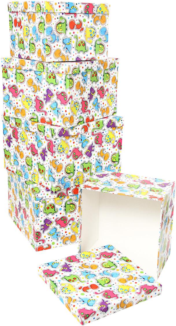 Набор подарочных коробок Veld-Co Динозаврики, кубы, большие, 5 шт аксессуары veld co набор переводных татуировок черепа