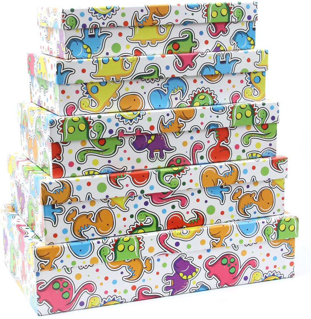 Набор подарочных коробок Veld-Co Динозаврики, прямоугольные, 5 шт набор подарочных коробок veld co грезы путешественника 11 шт