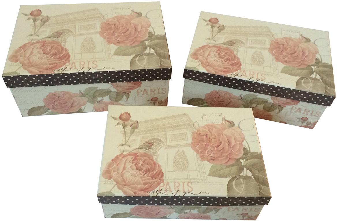 Набор подарочных коробок Veld-Co Нежные розы, прямоугольные, 3 шт набор подарочных коробок veld co шоколад с магнитами цвет светло коричневый 3 шт