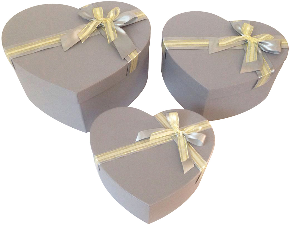 Набор подарочных коробок Veld-Co Сердце. Серая нежность, 3 шт набор подарочных коробок veld co шоколад с магнитами цвет светло коричневый 3 шт