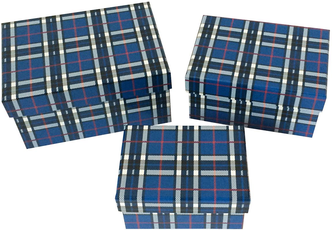 Набор подарочных коробок Veld-Co Клетка, прямоугольные, цвет: синий, 3 шт набор декоративных лент veld co 1 9 см х 3 м 30 шт