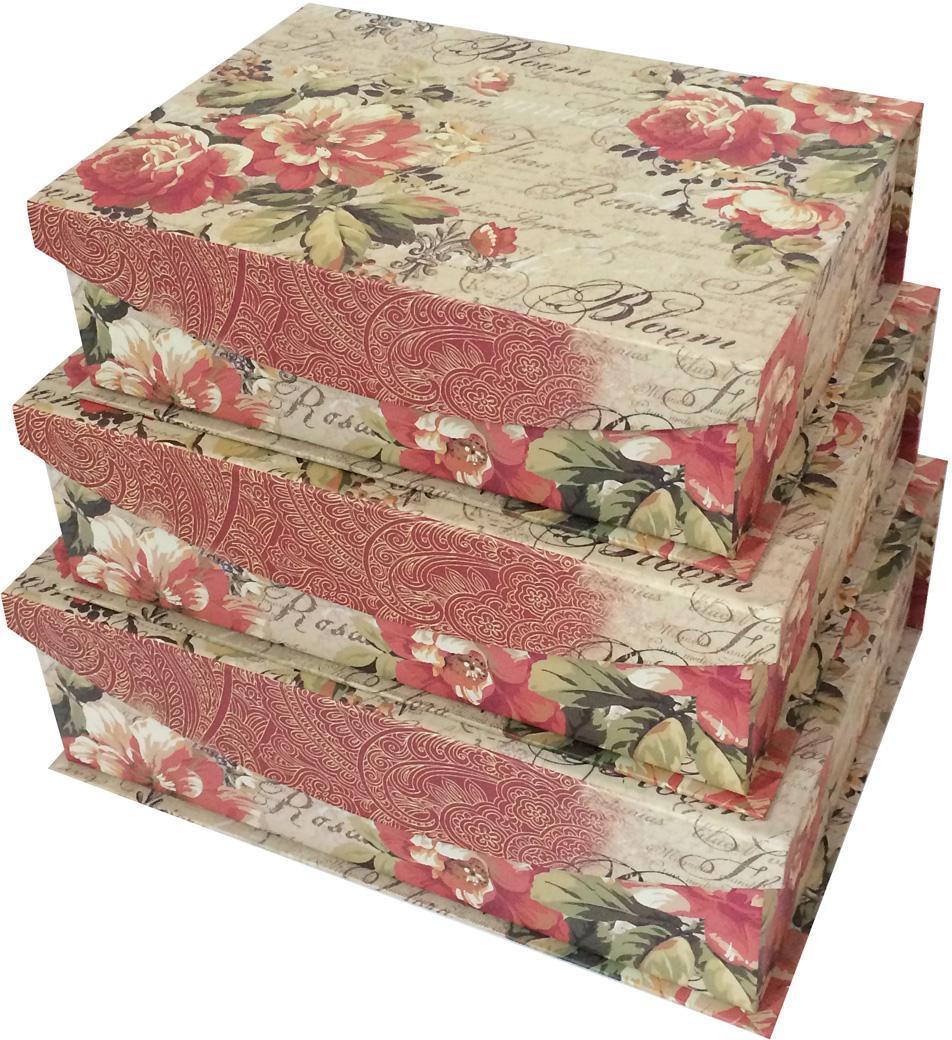 Набор подарочных коробок Veld-Co Розы, с магнитной крышкой, 3 шт набор подарочных коробок veld co шоколад с магнитами цвет светло коричневый 3 шт
