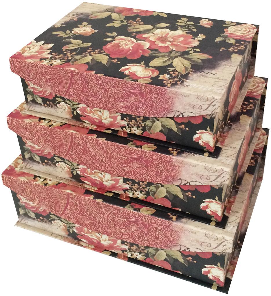Набор подарочных коробок Veld-Co Розы на черном, 3 шт набор подарочных коробок veld co шоколад с магнитами цвет светло коричневый 3 шт