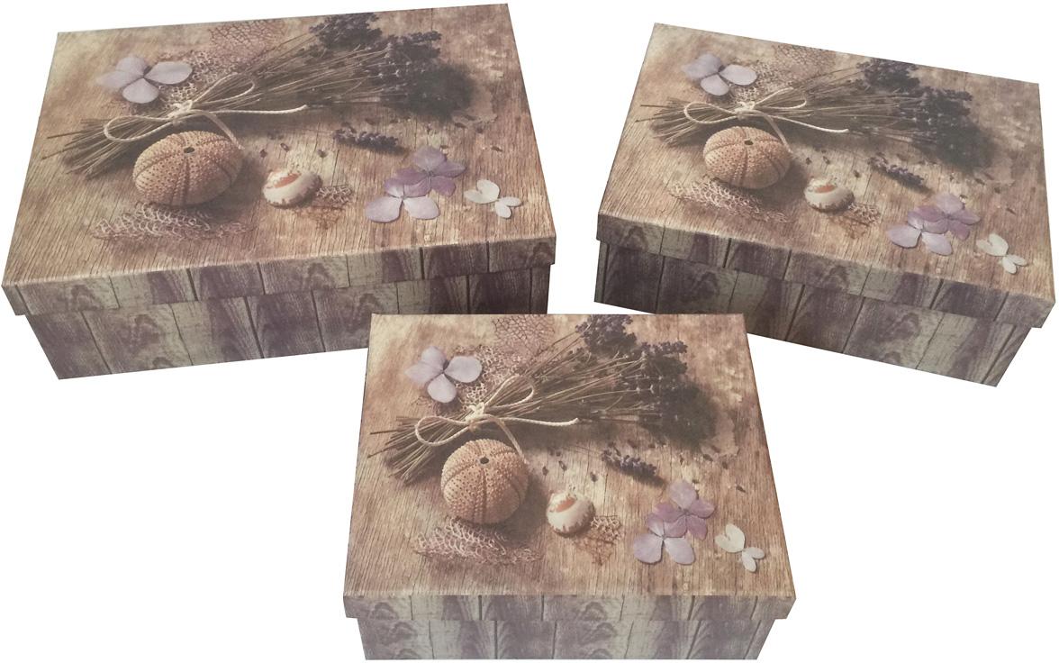 Набор подарочных коробок Veld-Co Лавандовая нежность, прямоугольные, 3 шт набор подарочных коробок veld co цветочная абстракция кубы 3 шт 53452