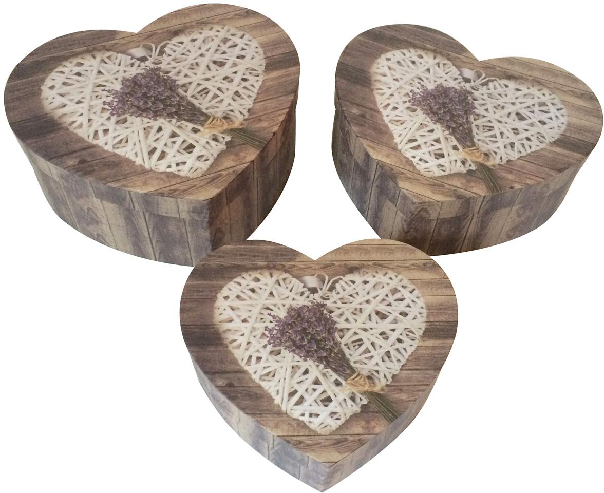 Набор подарочных коробок Veld-Co Сердце. Лавандовый букетик, 3 шт набор подарочных коробок veld co шоколад с магнитами цвет светло коричневый 3 шт