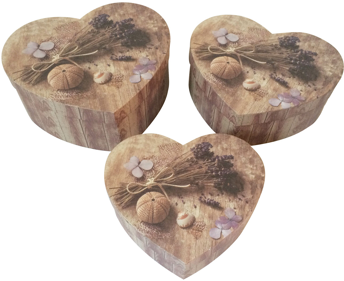 Набор подарочных коробок Veld-Co Сердце. Лавандовая нежность, 3 шт набор подарочных коробок veld co шоколад с магнитами цвет светло коричневый 3 шт