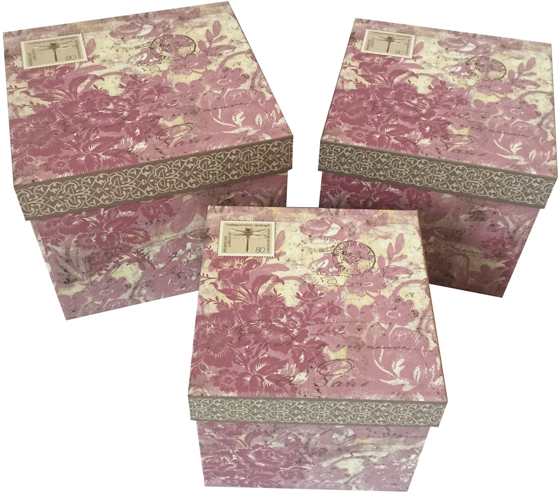 Набор подарочных коробок Veld-Co Цветочная абстракция, кубы, 3 шт. 53452 набор подарочных коробок veld co шоколад с магнитами цвет светло коричневый 3 шт