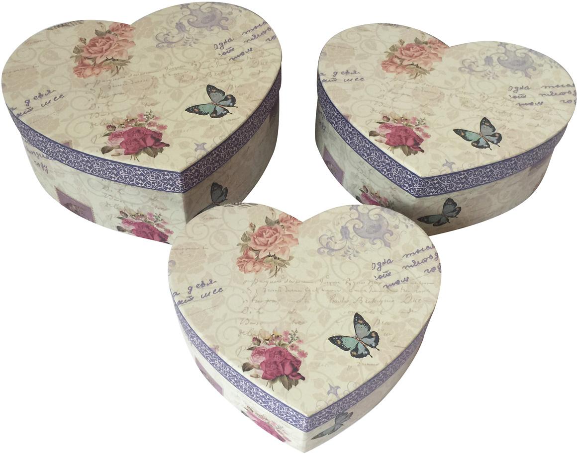 Набор подарочных коробок Veld-Co Сердце. Розы и бабочки, 3 шт набор подарочных коробок veld co шоколад с магнитами цвет светло коричневый 3 шт