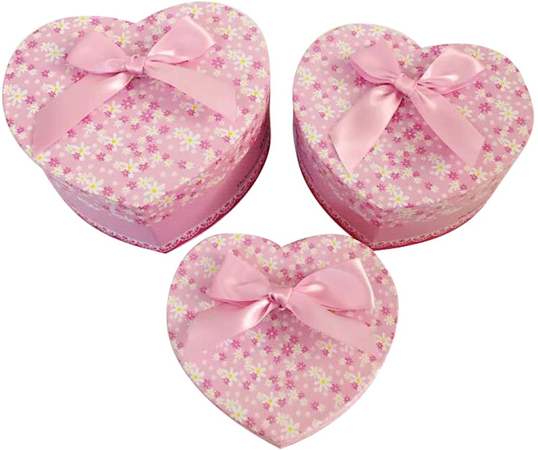 Набор подарочных коробок Veld-Co Сердце. Цветочки с бантиком, 3 шт набор подарочных коробок veld co горошек с бантиком кубы 3 шт