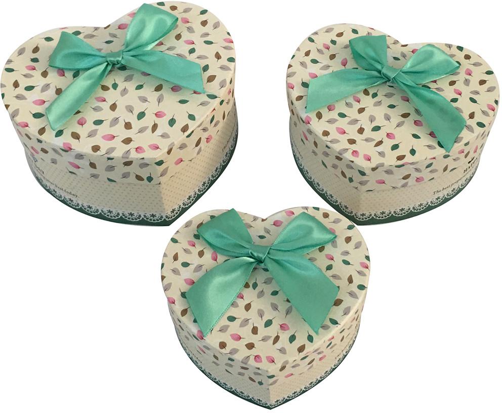 Набор подарочных коробок Veld-Co Сердце. Листочки с бантиком, 3 шт набор подарочных коробок veld co шоколад с магнитами цвет светло коричневый 3 шт