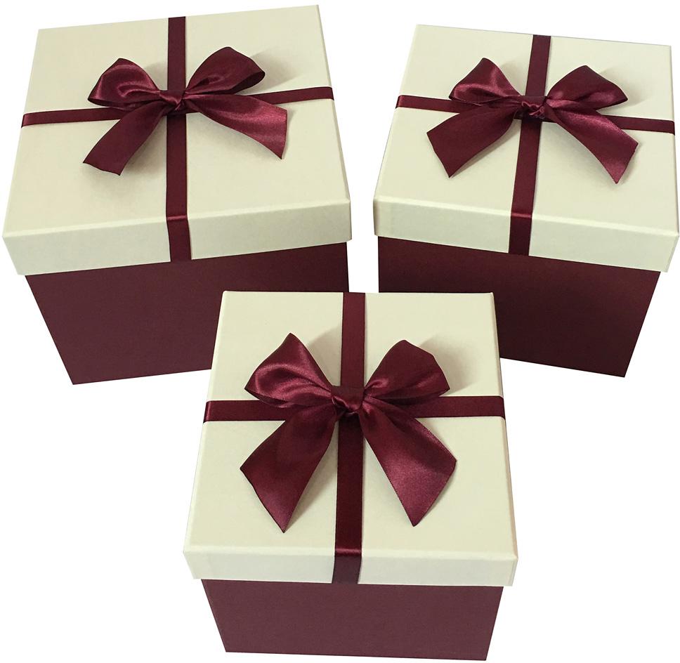 Набор подарочных коробок Veld-Co Бантик, кубы, цвет: бордовый, 3 шт набор подарочных коробок veld co грезы путешественника 11 шт
