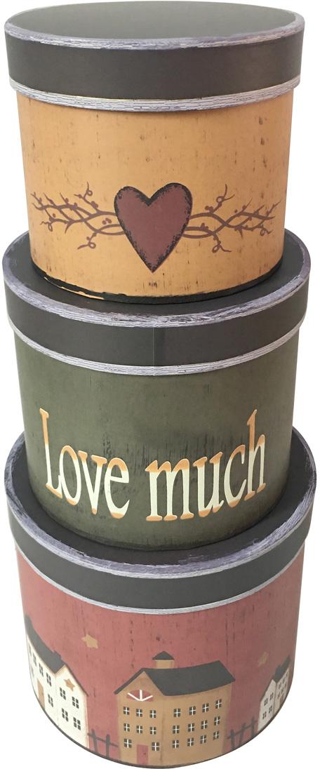 Набор подарочных коробок Veld-Co Love much, 3 шт набор подарочных коробок veld co шоколад с магнитами цвет светло коричневый 3 шт