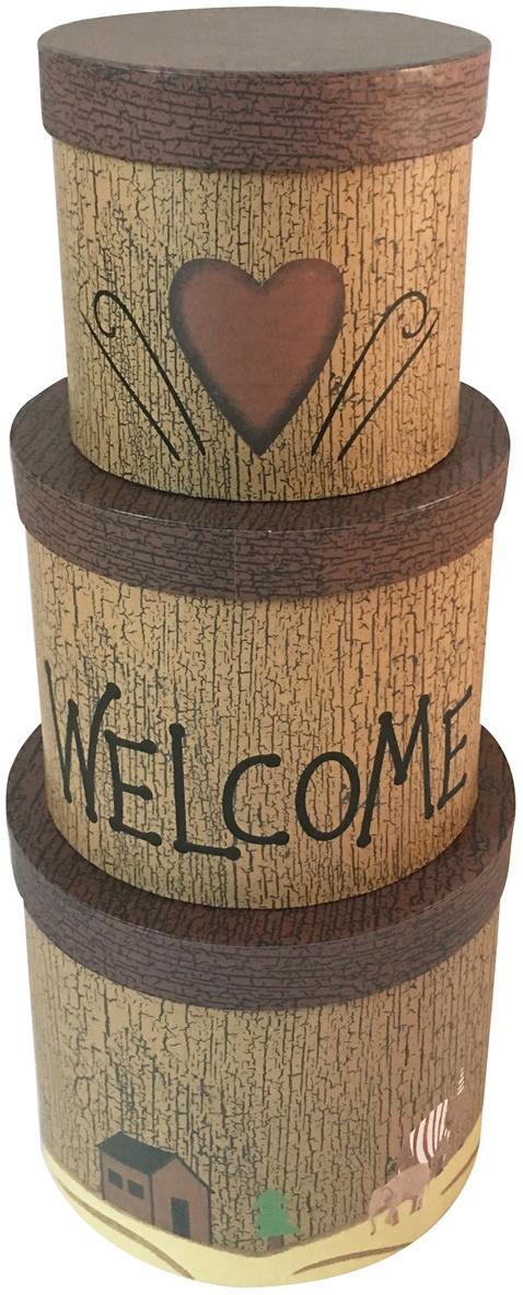 Набор подарочных коробок Veld-Co Welcome, 3 шт набор подарочных коробок veld co шоколад с магнитами цвет светло коричневый 3 шт