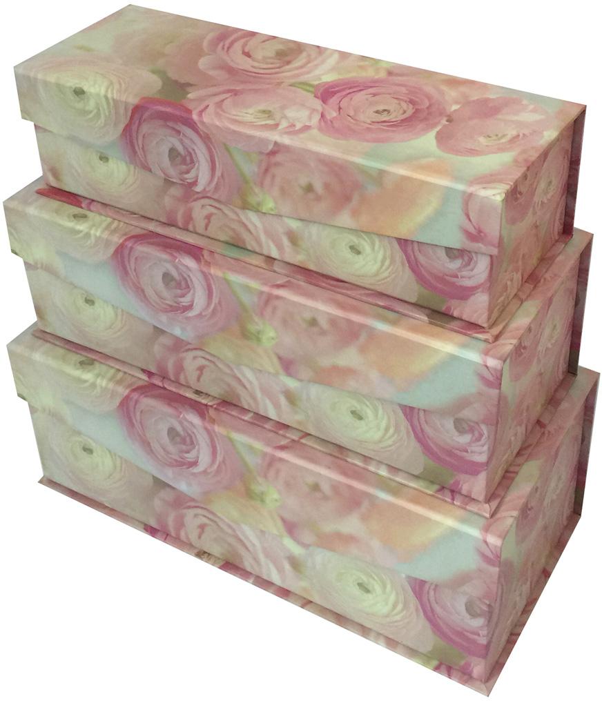 Набор подарочных коробок Veld-Co Нежные розы, с магнитной крышкой, 3 шт набор подарочных коробок veld co шоколад с магнитами цвет светло коричневый 3 шт
