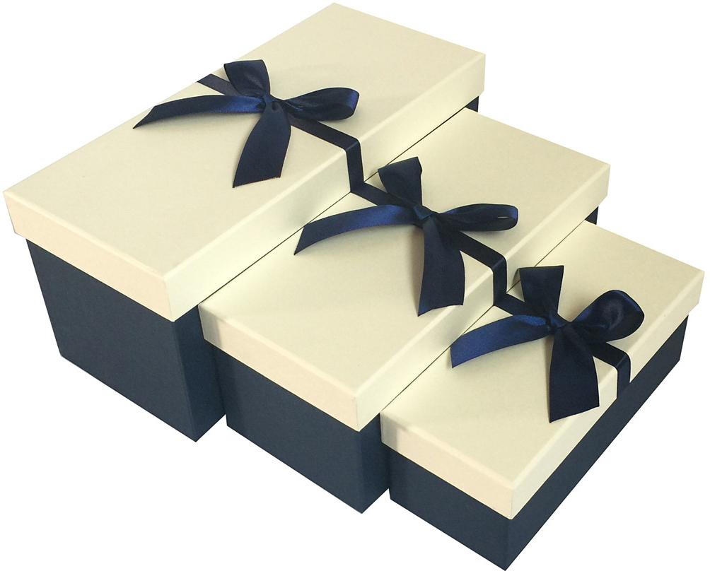 Набор подарочных коробок Veld-Co Бантик, прямоугольные, цвет: синий, 3 шт набор подарочных коробок veld co шоколад с магнитами цвет светло коричневый 3 шт