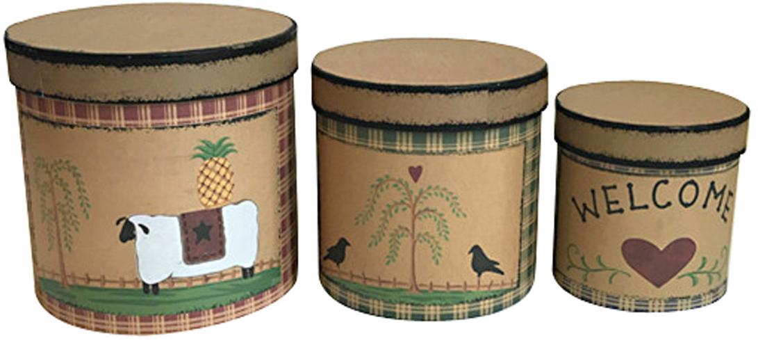 Набор подарочных коробок Veld-Co Деревенский уют на бежевом, 3 шт набор подарочных коробок veld co шоколад с магнитами цвет светло коричневый 3 шт