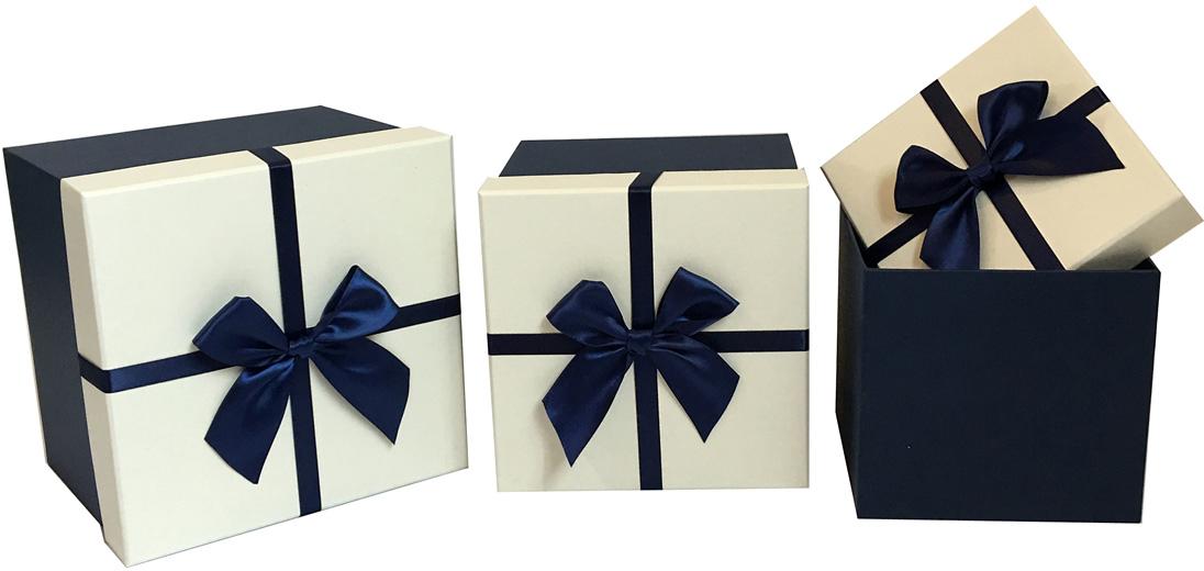 Набор подарочных коробок Veld-Co Бантик, кубы, цвет: синий, 3 шт набор подарочных коробок veld co шоколад с магнитами цвет светло коричневый 3 шт