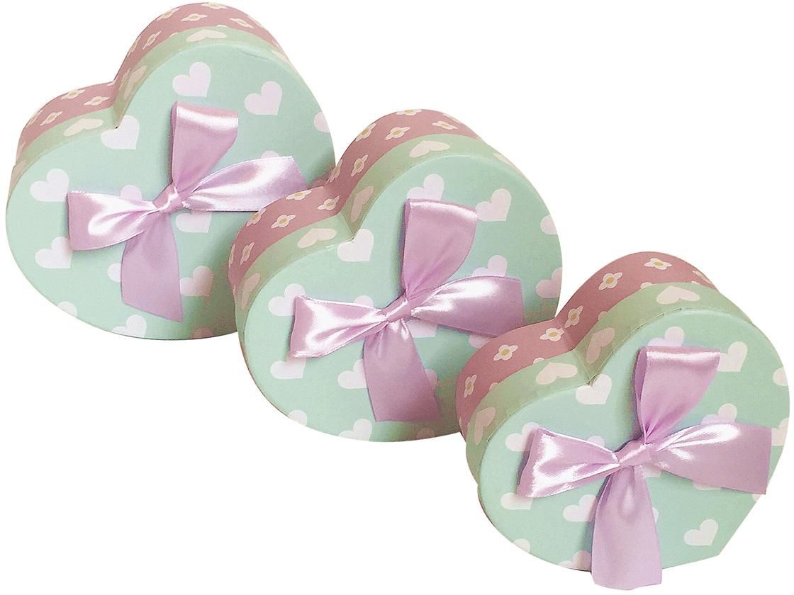 Набор подарочных коробок Veld-Co Сердце. С бантиком, 3 шт набор подарочных коробок veld co цветочная абстракция кубы 3 шт 53452