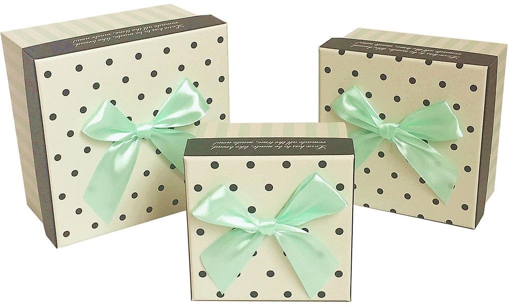 Набор подарочных коробок Veld-Co Горошек с бантиком, кубы, 3 шт набор подарочных коробок veld co нежные розы кубы 5 шт
