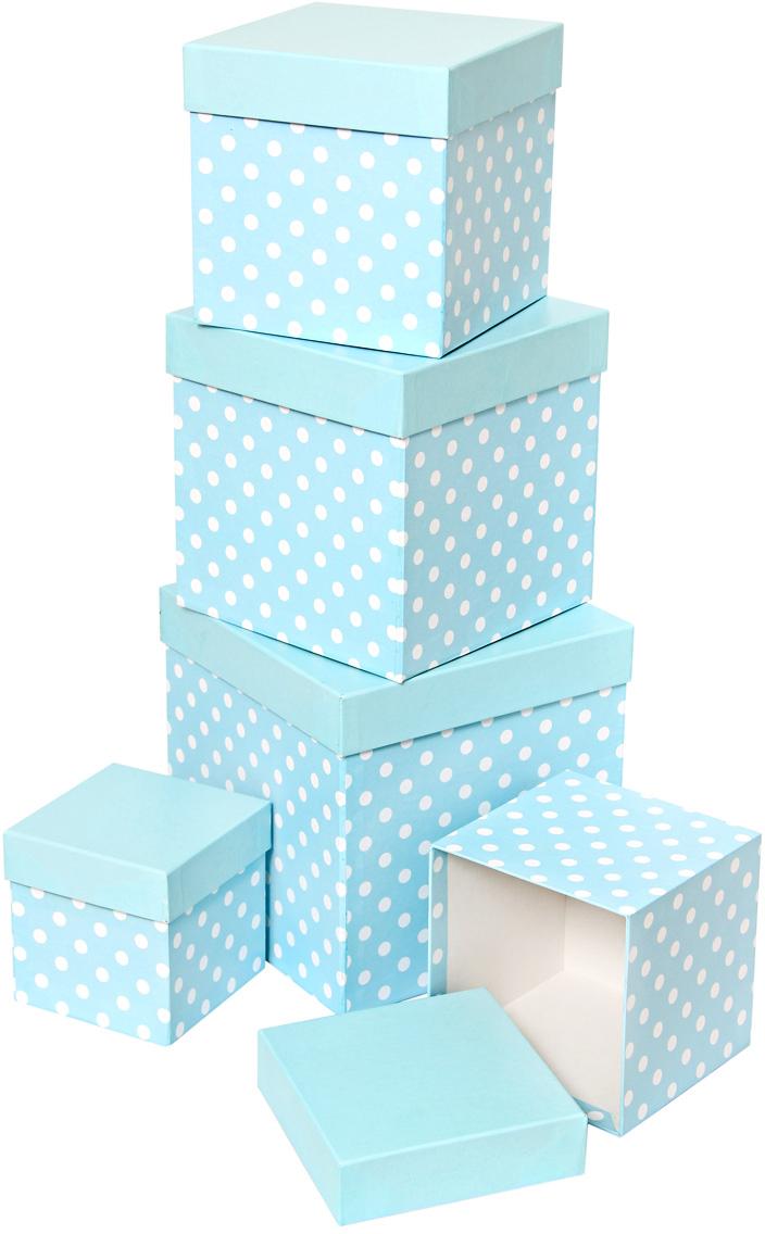 Набор подарочных коробок Veld-Co Белый горошек, кубы, цвет: голубой, 5 шт степлеры канцелярские veld co степлер