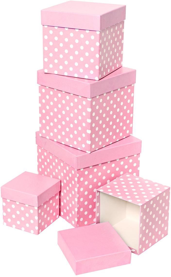 Набор подарочных коробок Veld-Co Белый горошек, кубы, цвет: розовый, 5 шт набор подарочных коробок veld co перец чили и красные ромбы кубы 5 шт