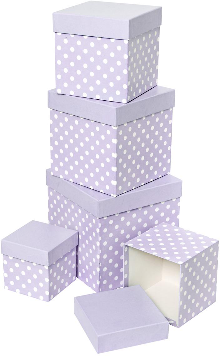 Набор подарочных коробок Veld-Co Белый горошек, кубы, цвет: сиреневый, 5 шт набор подарочных коробок veld co шоколад с магнитами цвет светло коричневый 3 шт