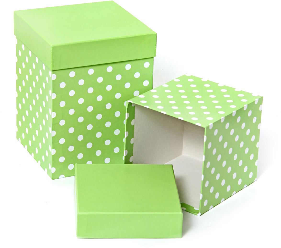Набор подарочных коробок Veld-Co Белый горошек, под кружку, цвет: салатовый, 2 шт игровые наборы veld co набор посуды на подносе