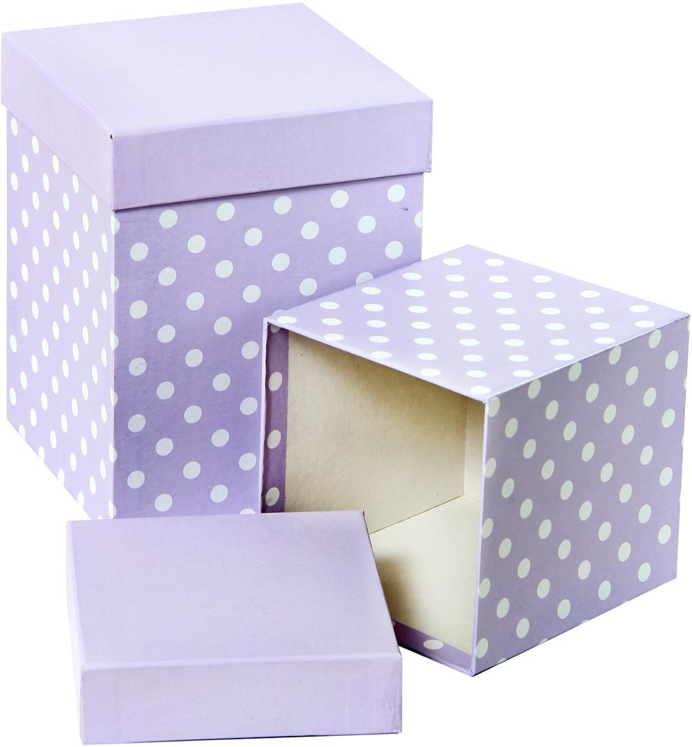 Набор подарочных коробок Veld-Co Белый горошек, под кружку, цвет: сиреневый, 2 шт набор подарочных коробок veld co цветочная абстракция кубы 3 шт 53452