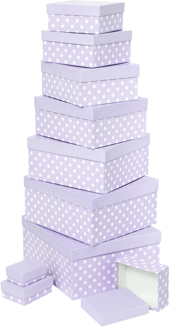 Набор подарочных коробок Veld-Co Белый горошек, цвет: сиреневый, 10 шт набор подарочных коробок veld co шоколад с магнитами цвет светло коричневый 3 шт